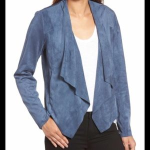 Anthropologie Lamarque suede draped front jacket